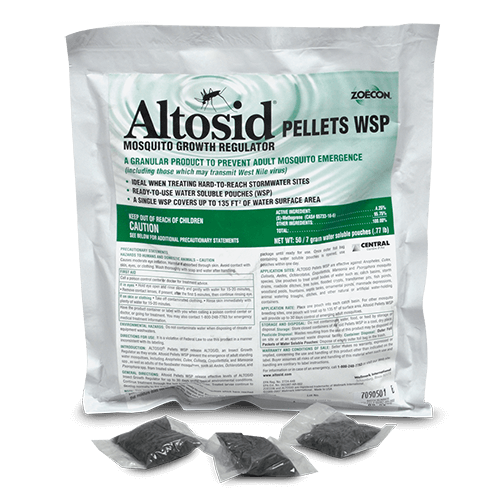 Large bag of Altosid WSP Pellets with three smaller product bags in front