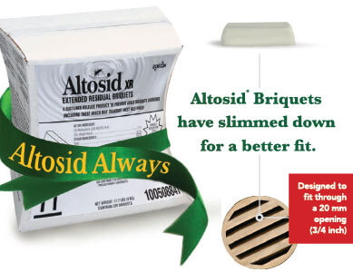 "Altosid product box with green ribbon around it that reads ""Altosid Always,"" next to the box is an Altosid Briquet and a drain."