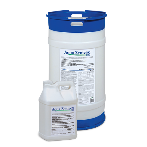 Large circular product drum of Aqua Zenivex E20 Adulticide behind small square product jug of Aqua Zenivex E20 Adulticide