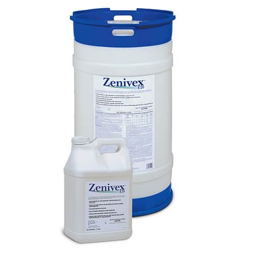 Large circular product drum of Zenivex E20 Adulticide behind small square product jug of Zenivex E20 Adulticide