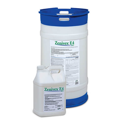 Large circular product drum of Zenivex E4 RTU Adulticide behind a small square product jug of Zenivex E4 RTU Adulticide